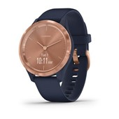 vívomove® 3S - Rose Gold Stainless Steel, Navy Silicone