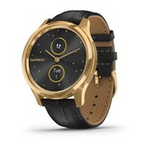 vívomove® Luxe - 24K Gold PVD Stainless Steel, Black Embossed Italian Leather