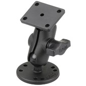 "1"" Ball Mount with 2.5"" Round Base, Short Arm & 2"" x 1.7"" Rectangular Plate AMPs Hole Pattern"
